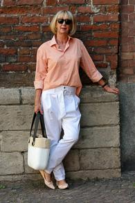 Hope white trousers with French Sole ballerinas and husband's shirt