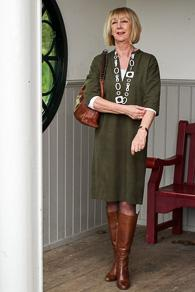 Moss green dress by Bellamy Gallery