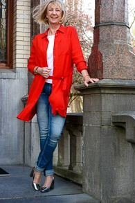 Red Sportmax dress worn as jacket