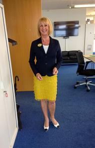 Yellow skirt and a blue jacket. Summer version