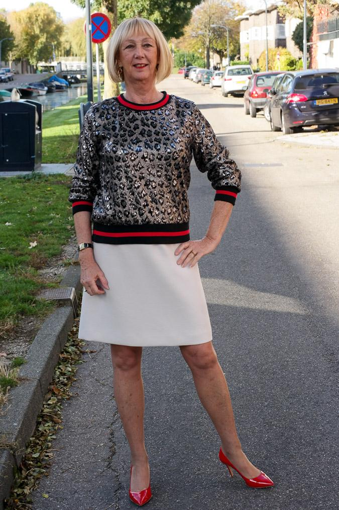 Sequined top with cream A-line skirt
