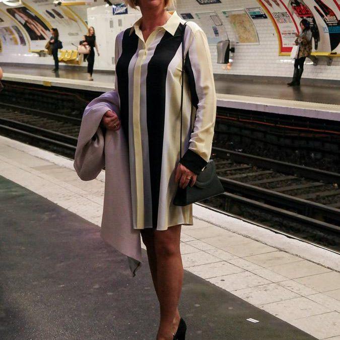 A shirt dress in Paris