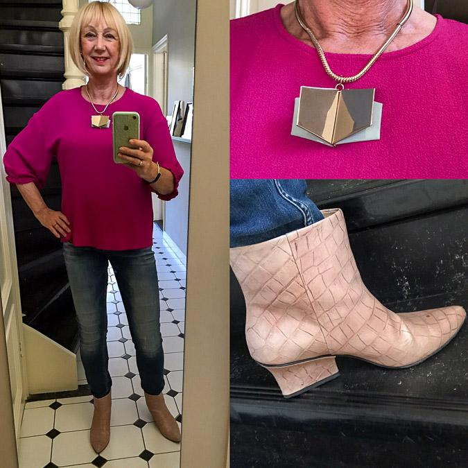 Fuchsia top and jeans
