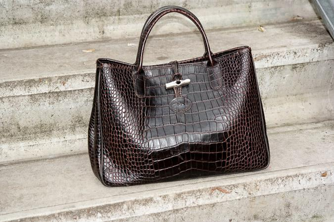 Brown leather bag Longchamps