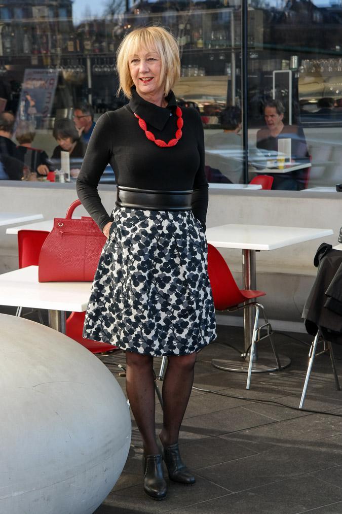 Black, white and grey flower skirt