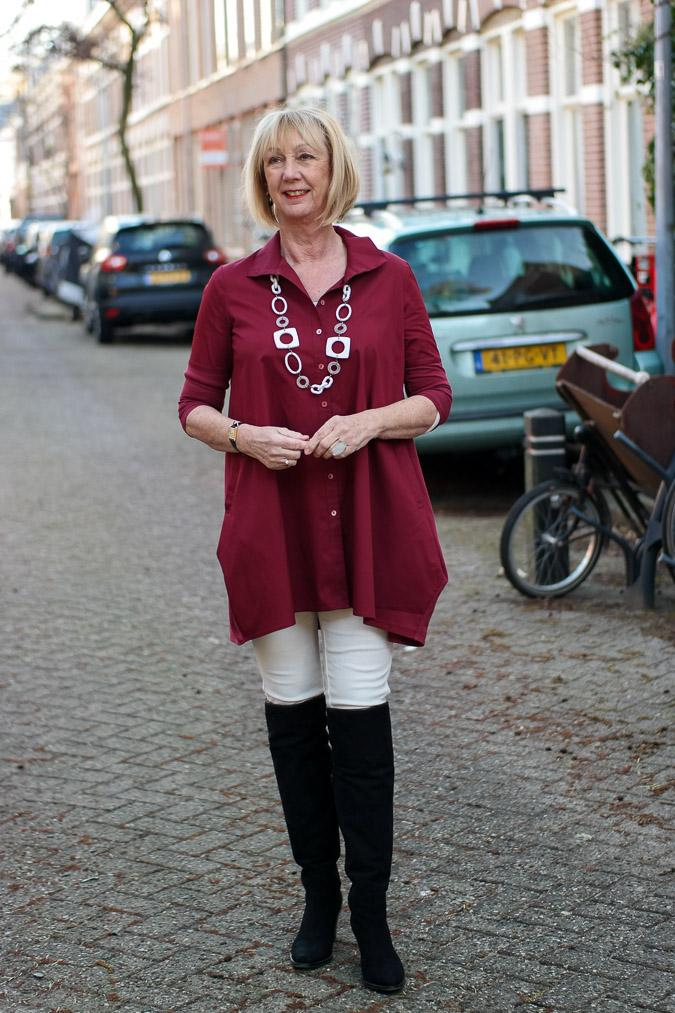 Dark red tunic with OTK boots
