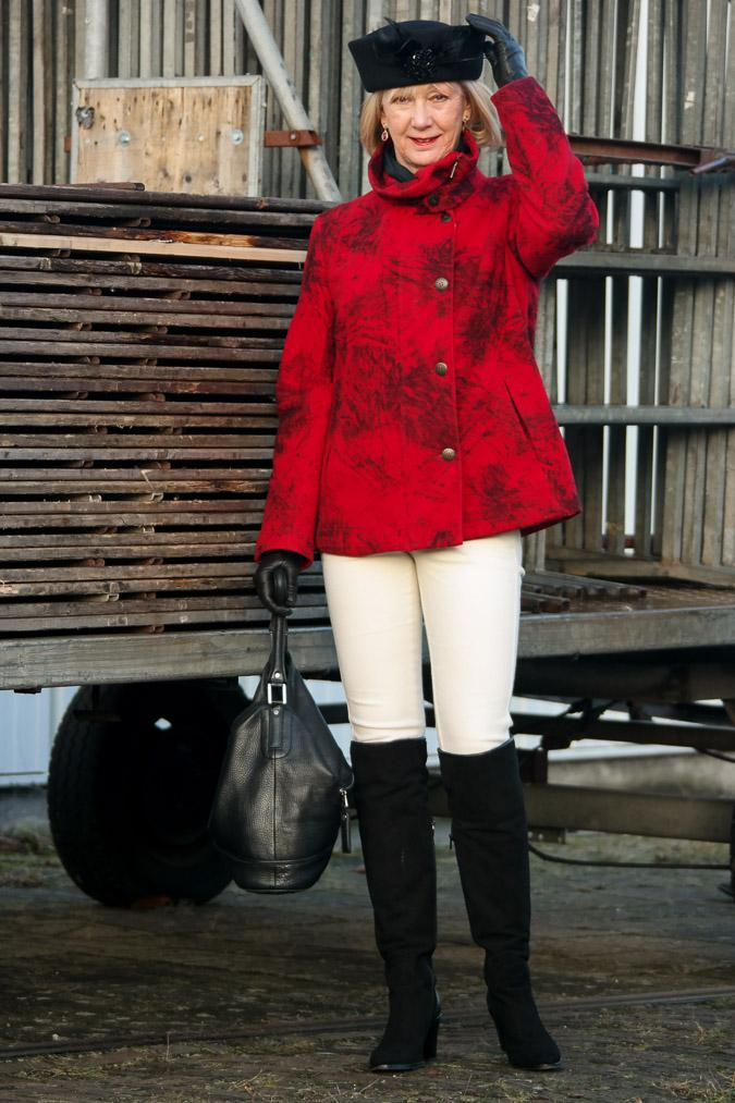 Red Kenzo coat with black OTK boots
