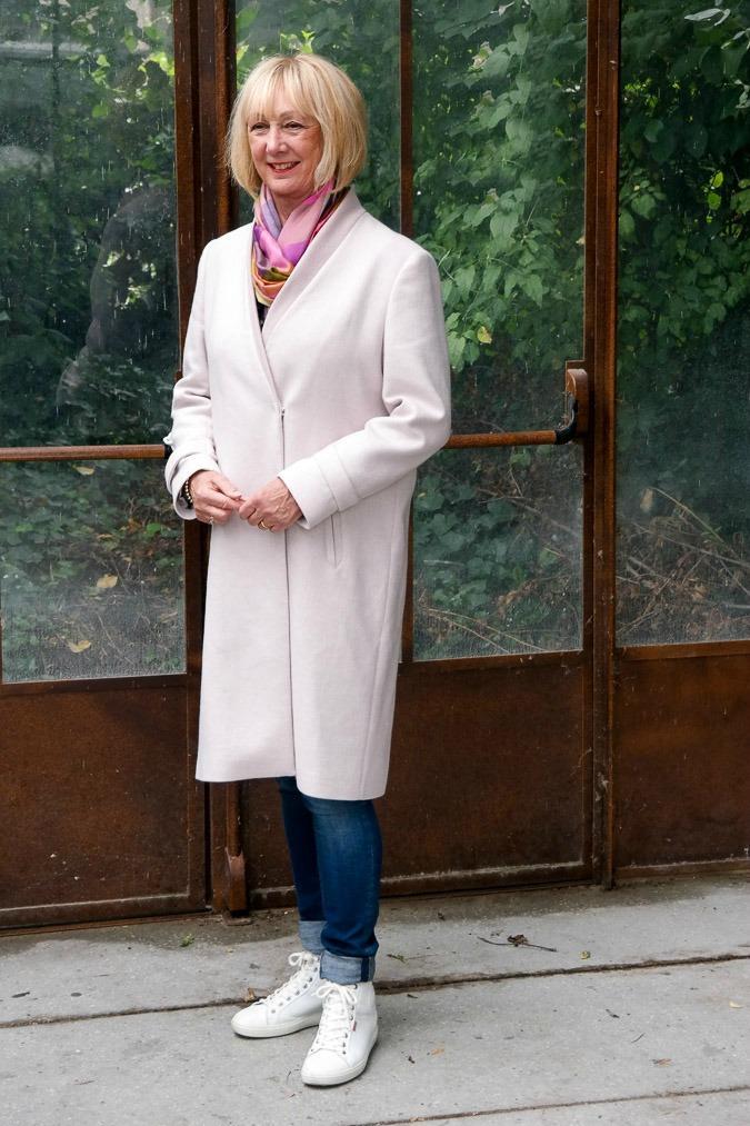 Pink coat in Paris