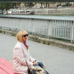 Pink coat in Paris
