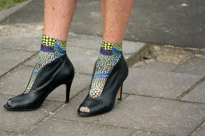 Peeptoe shoes with socks