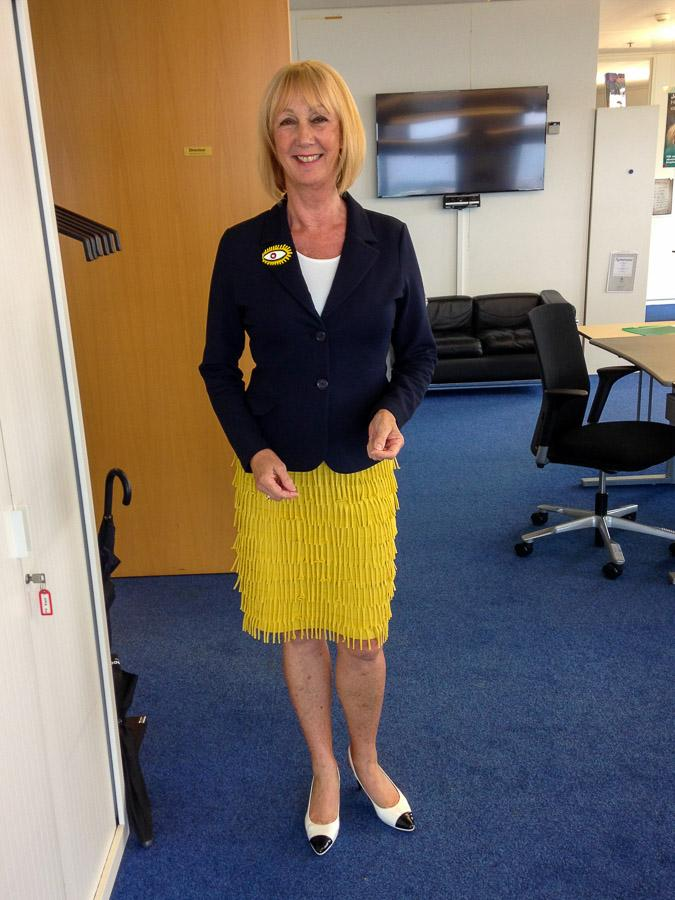 Yellow skirt with blue jacket summer edition
