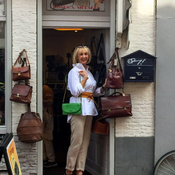 Looking at vintage bags in Haarlem with Sylvia
