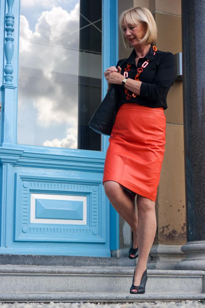 orange leather pencil skirt