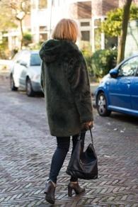 Green faux fur coat by Essentiel Antwerp