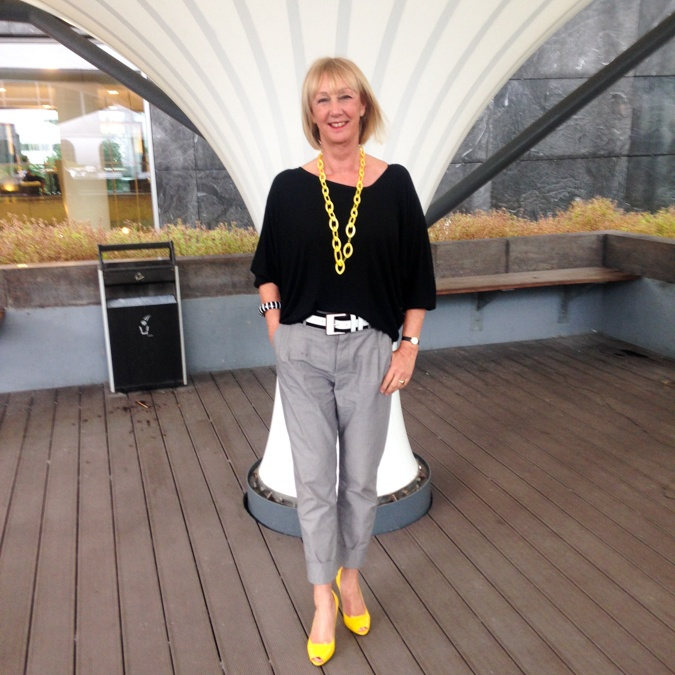 Grey trousers wih black and yellow