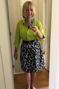 Black and white wide skirt with lime shirt