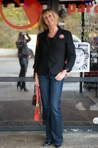 Flared jeans Paige, black jacket Max Mara, vintage brooch