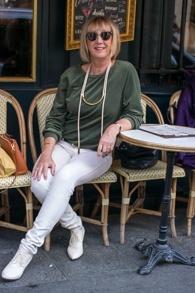 Green velvet sweater, EIJK Amsterdam shoes