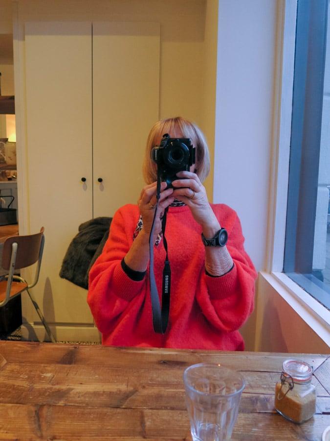 orange sweater