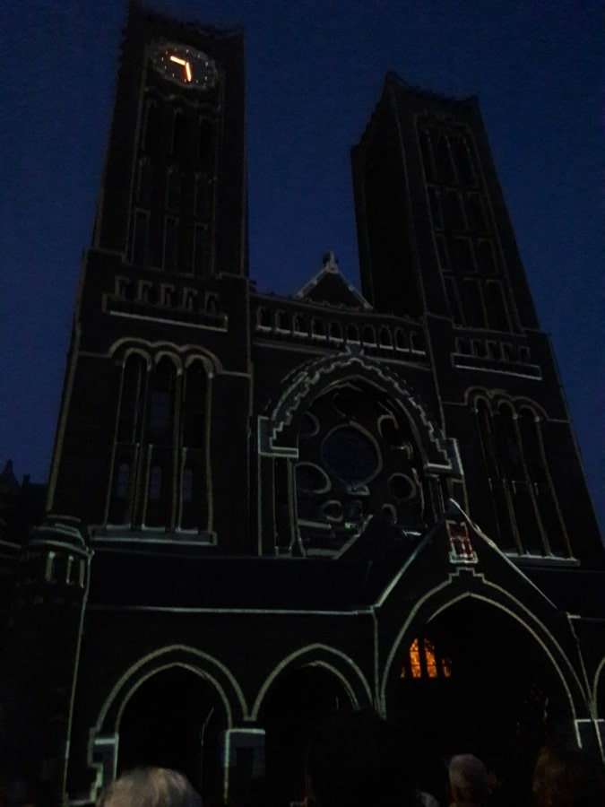 Basilica St Bavo by night