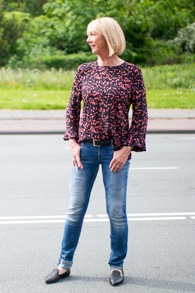 AR.RT top and Denham jeans, EIJK Amsterdam shoes