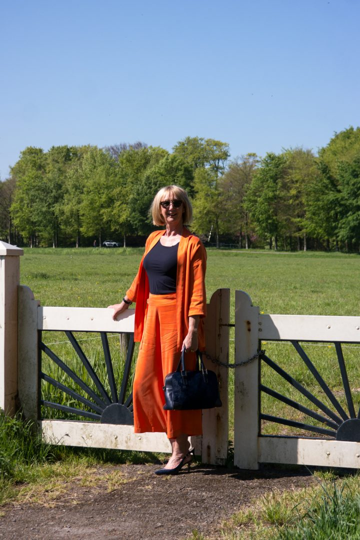 Orange trouser suit