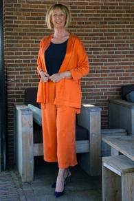 Orange trouser suit