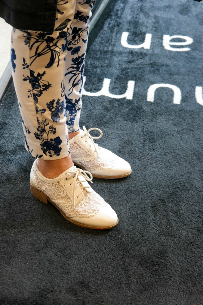 White brogues with lace