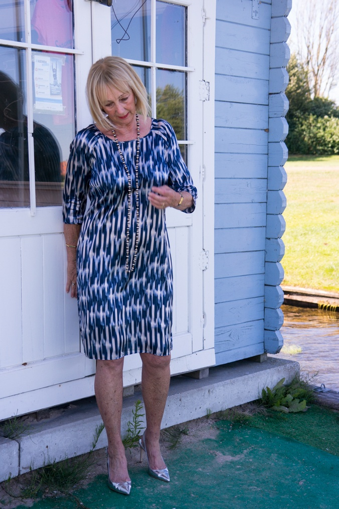 Blue and pink striped summer dress