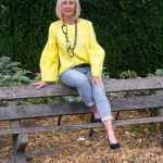 Bright yellow top with bell sleeves