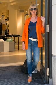 Orange jacket LaSalle, skinny jeans Denham