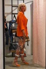 Orange jacket LaSalle, orange printed trousers Summum Women