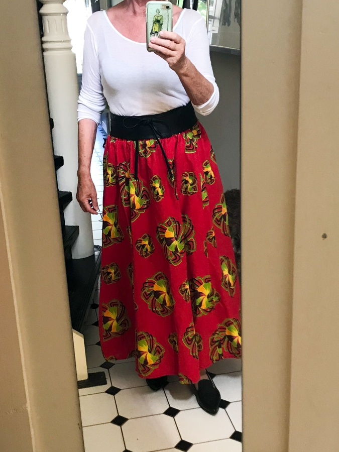 Fun outfits: wide red skirt with white top