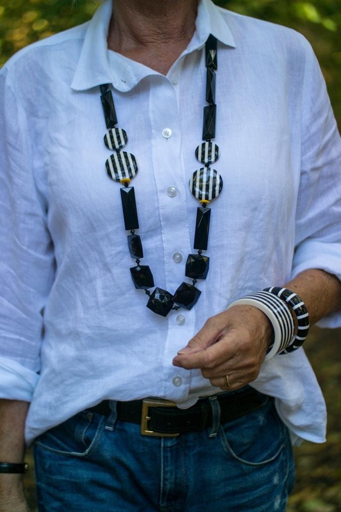 Angela Caputi necklace black and white