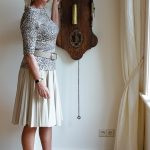 Leopard print top with cream pleated skirt