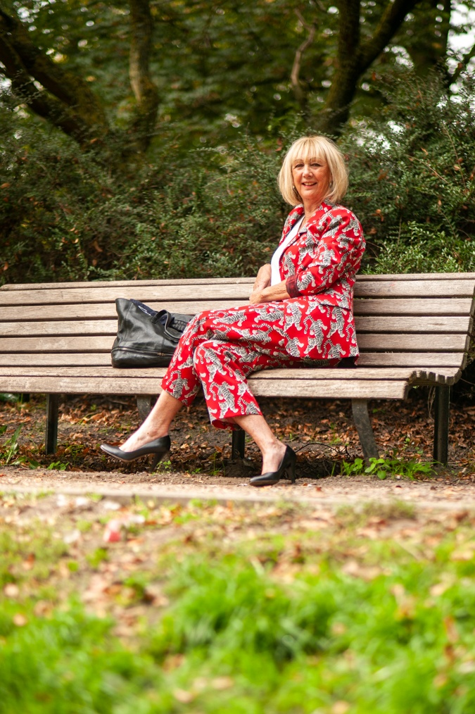 Red trouser suit