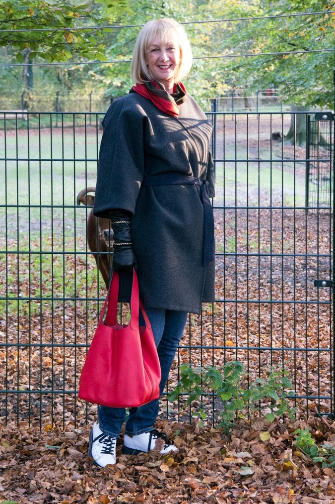 Red tote bag and grey kimono coat