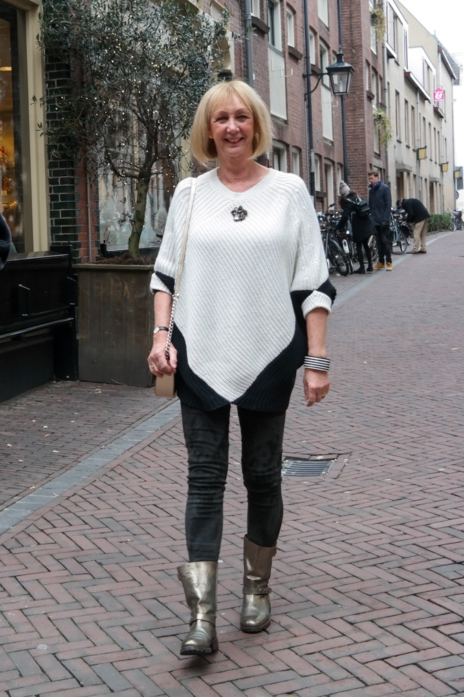 suede leggings and batwing jumper in black and white
