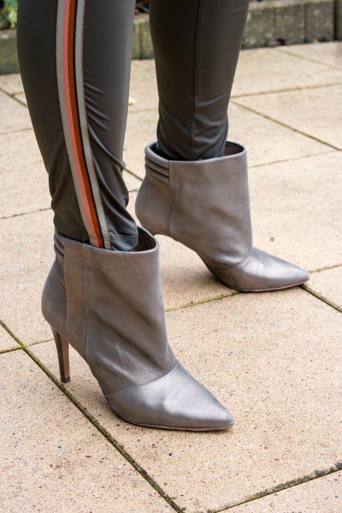 silver high heeled ankle boots