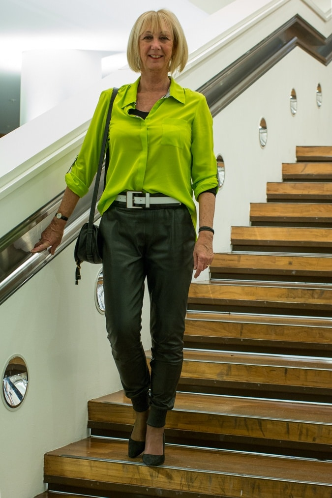 Leather jogging trousers