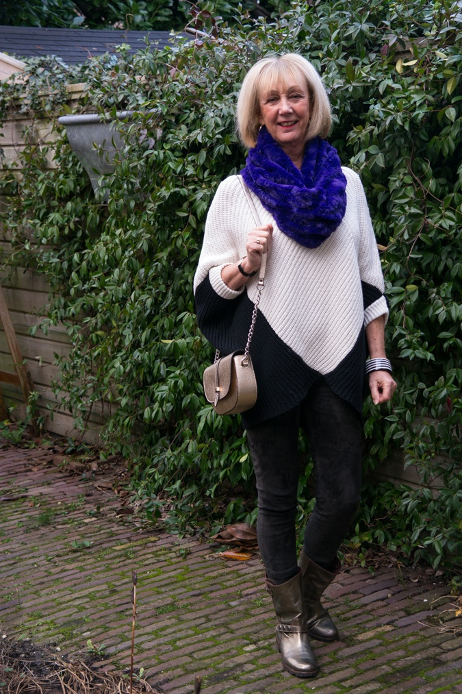 Suede leggings, batwing jumper and purple cowl