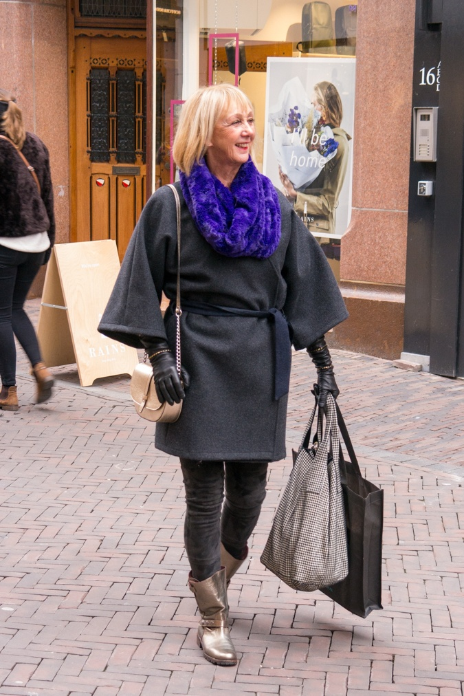 Grey kimono coat with purple cowl