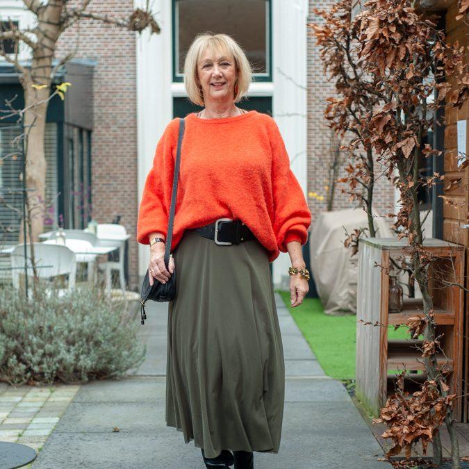 Long green skirt