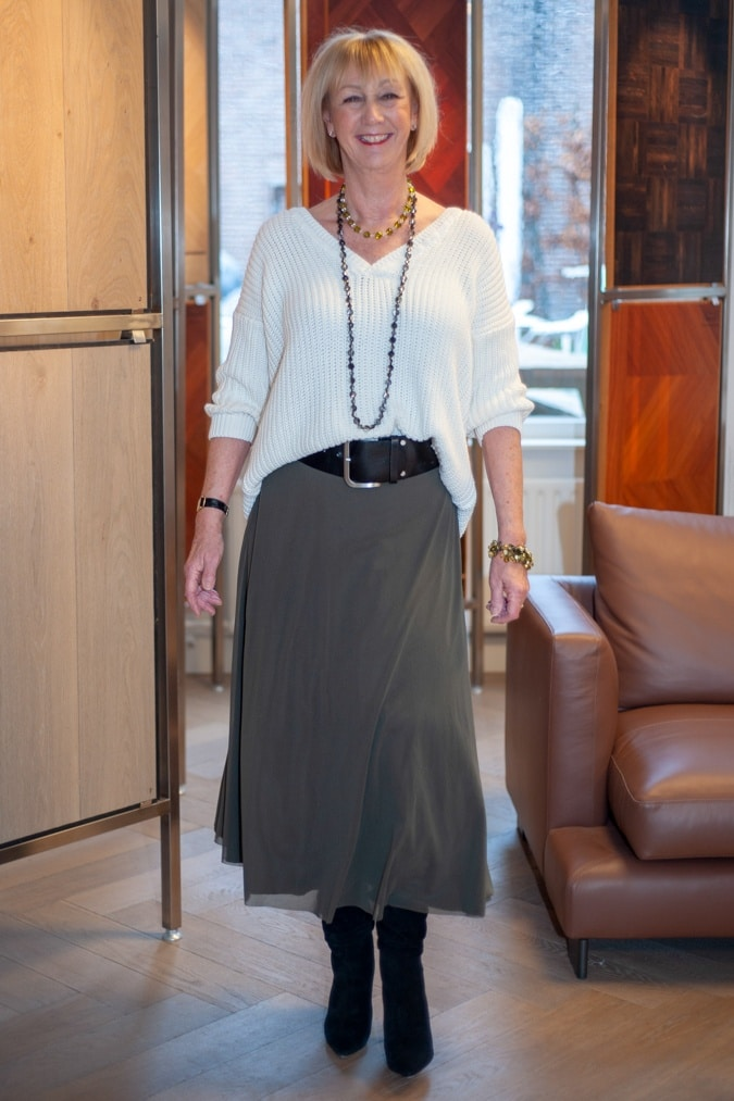Long green skirt with white jumper