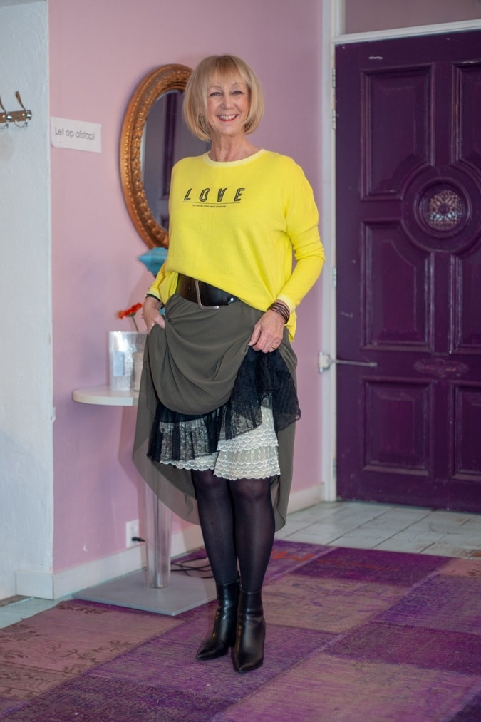Long green skirt with yellow sweater