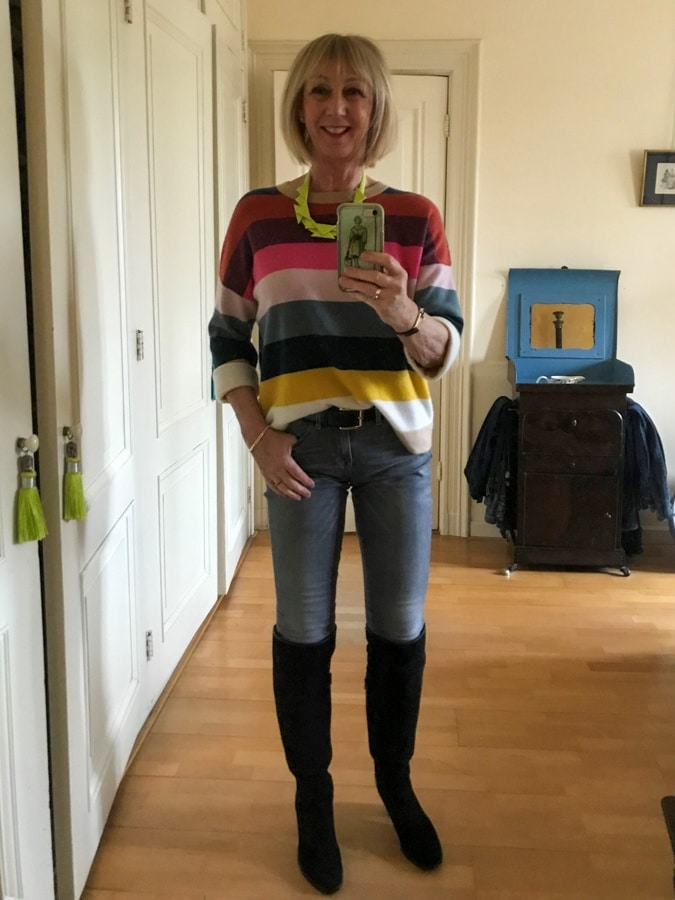 Striped cashmere jumper on jeans