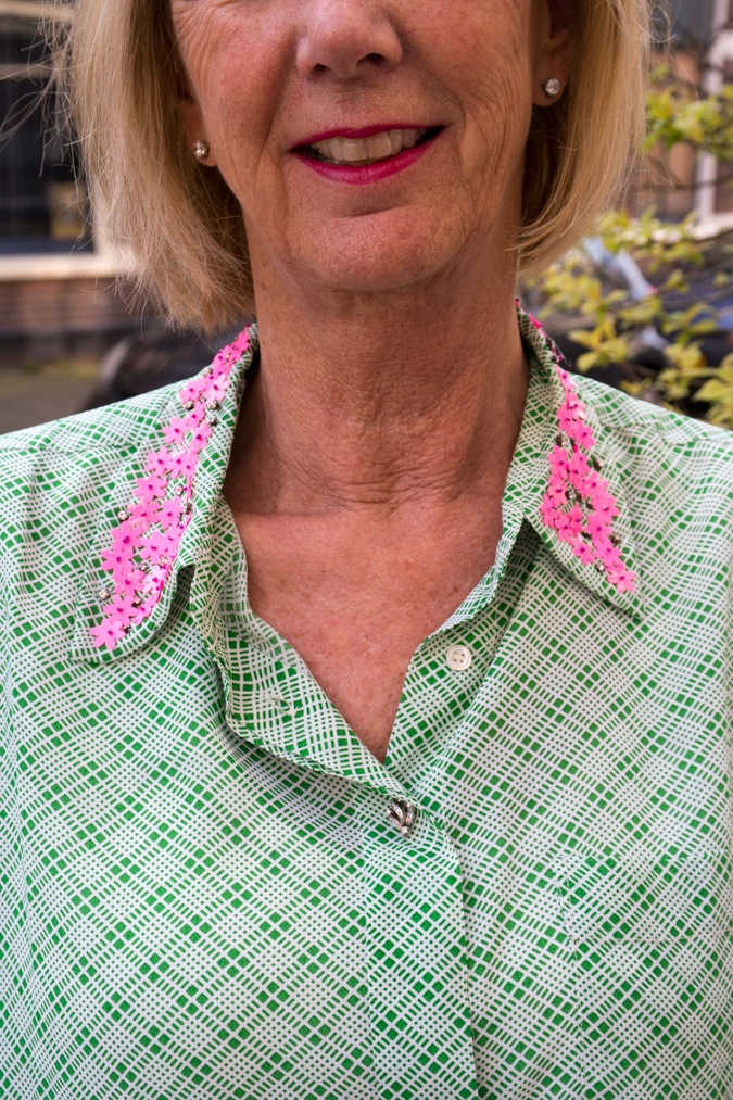 Green shirt with pink sequins