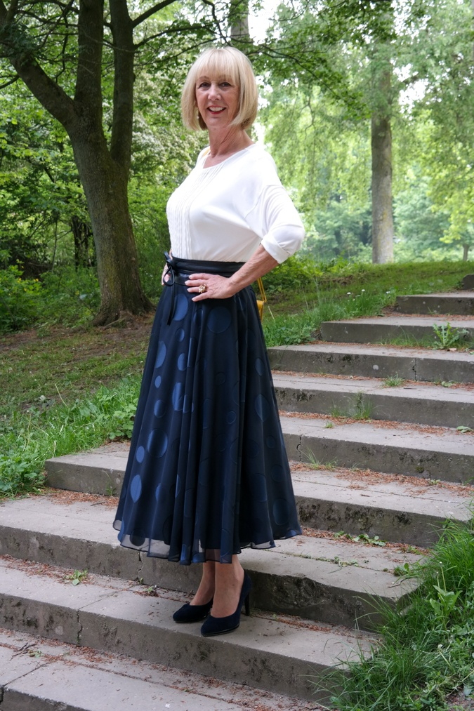 Wide blue skirt