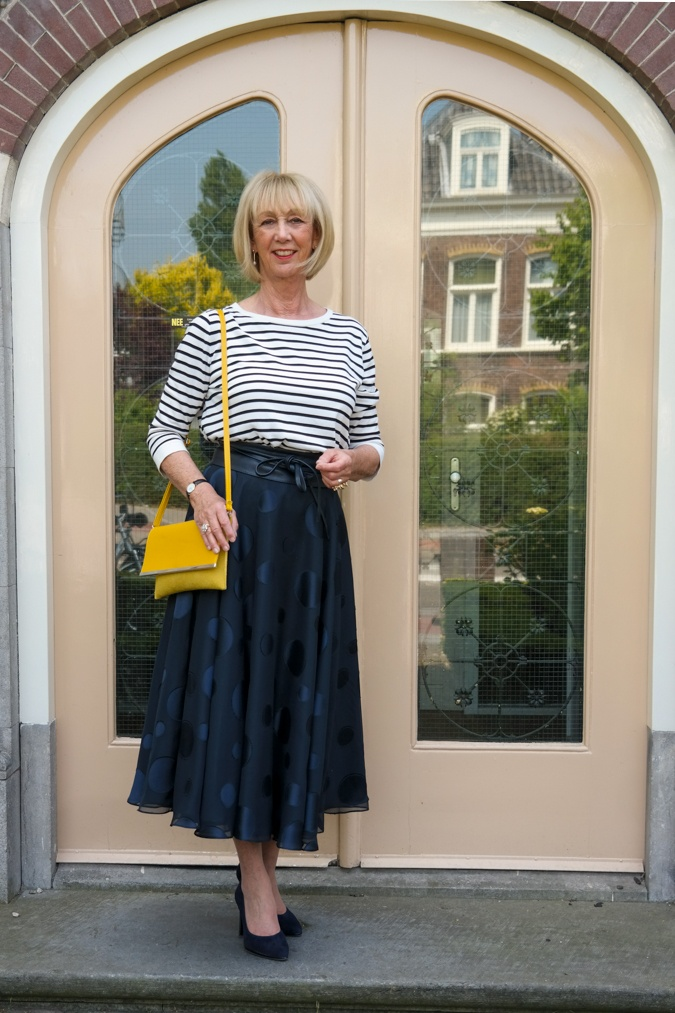Wide blue skirt