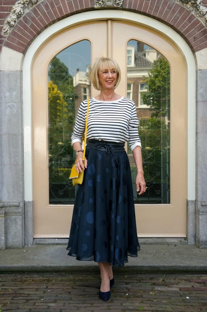A wide blue skirt